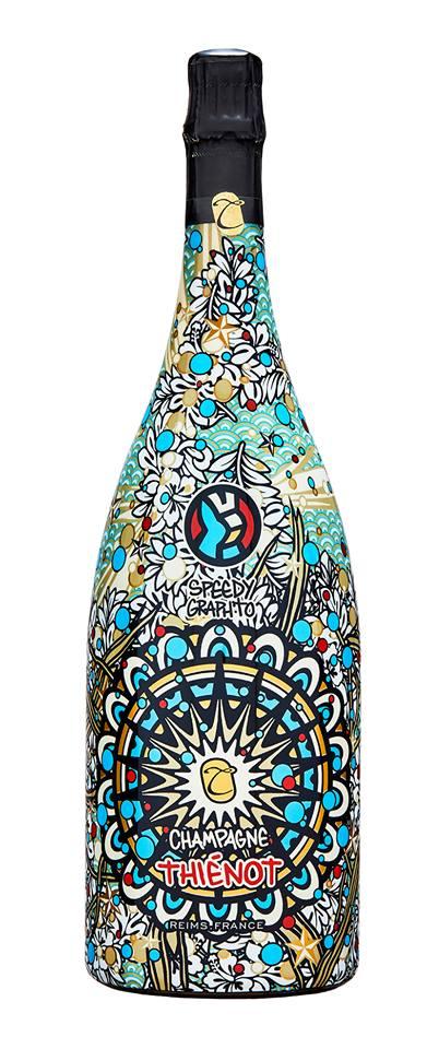 Seconde collaboration entre l'artiste Speedy Graphito et le champagne Thiénot.