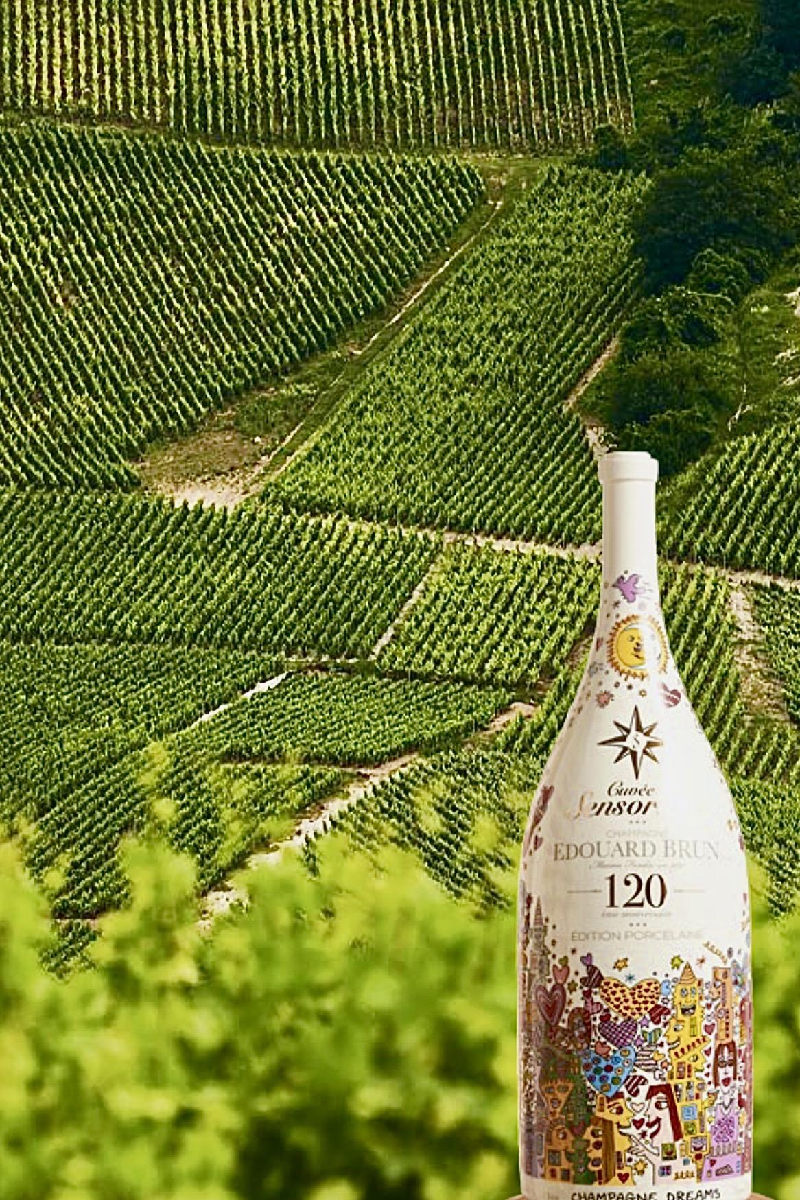 Une marque nommée Sensorium issue de la collaboration de la maison de porcelaine Reichenbach, et de la maison de champagne Edouard Brun à Aÿ.
