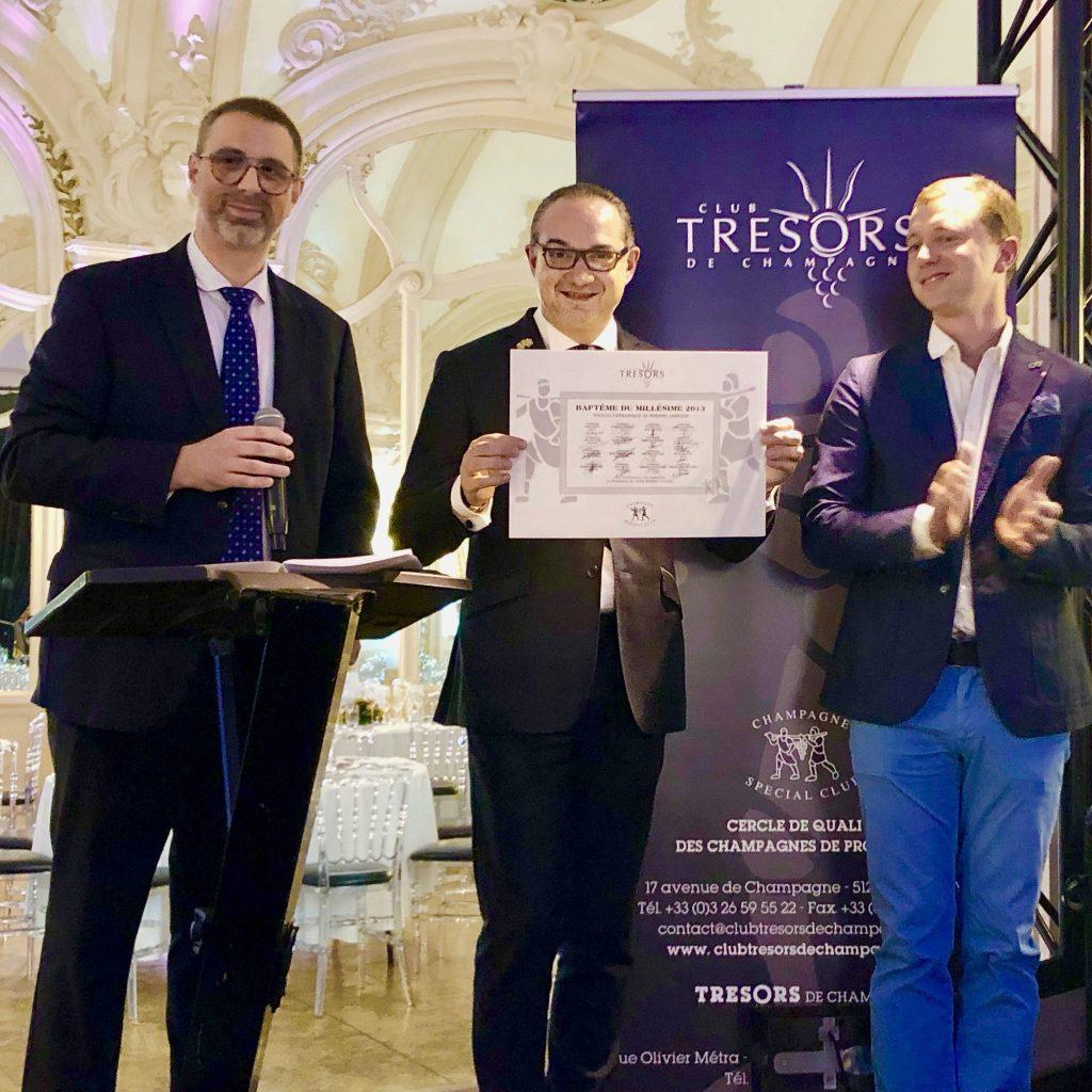 2013 de Trésors de Champagne entouré de Jean-Pierre Vazart et Cédric Moussé.