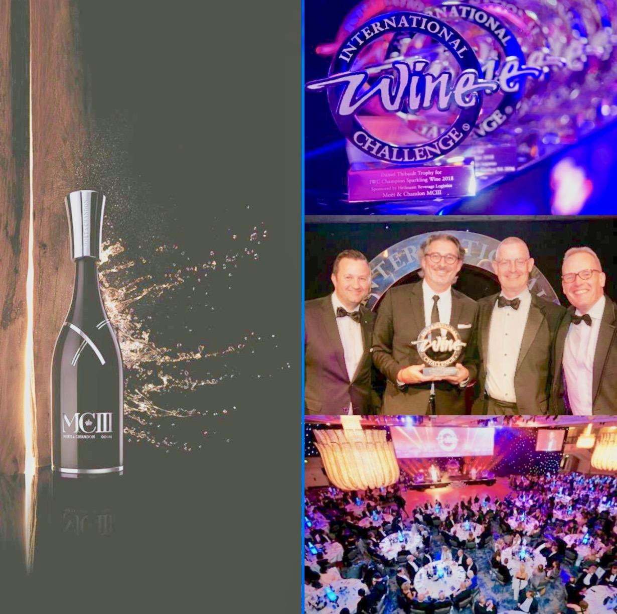 Le trophée de l'IWC champion sparkling wine 2018 décerné à MC III de Moët & Chandon élaboré par Benoît Gouez (portant la moustache)