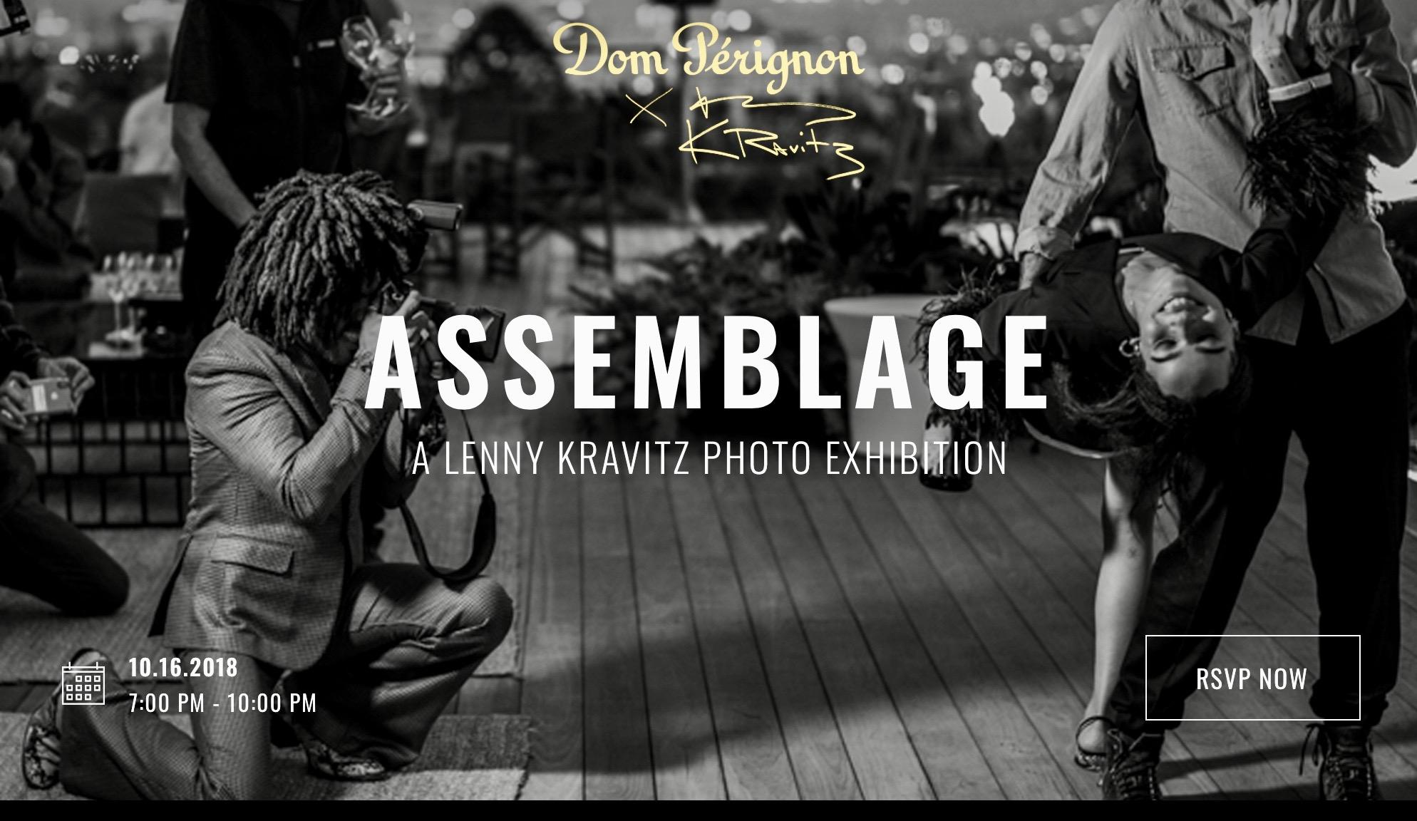 """Invitation à l'exposition """"Assemblage """" selon Lenny Kravitz directeur artistique de Dom Pérignon."""